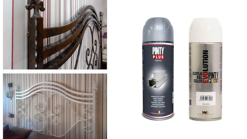spray painting an iron bedframe