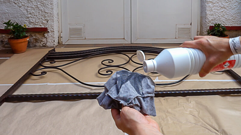 cleaning iron headboard before painting