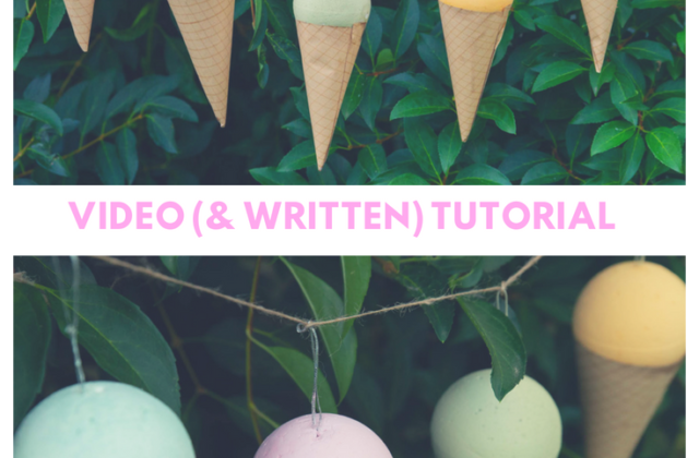 Easy tutorial for DIY icecream cone bunting using spray chalk paint and brown paper. Decoarte your garden for a summer party!
