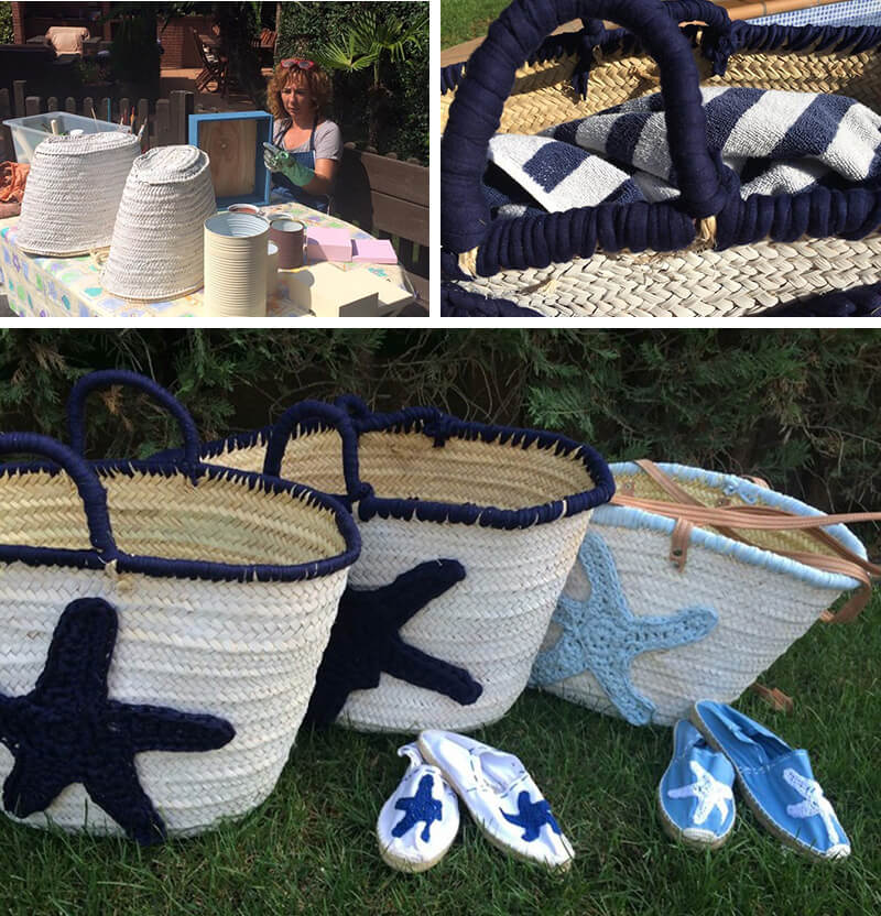 wicker baskets with spray paint