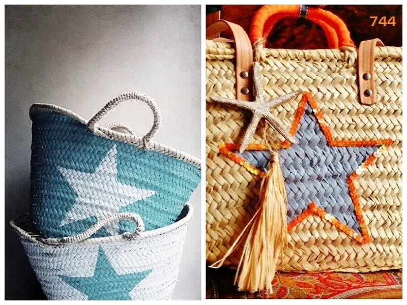 customised wicker bags with stars