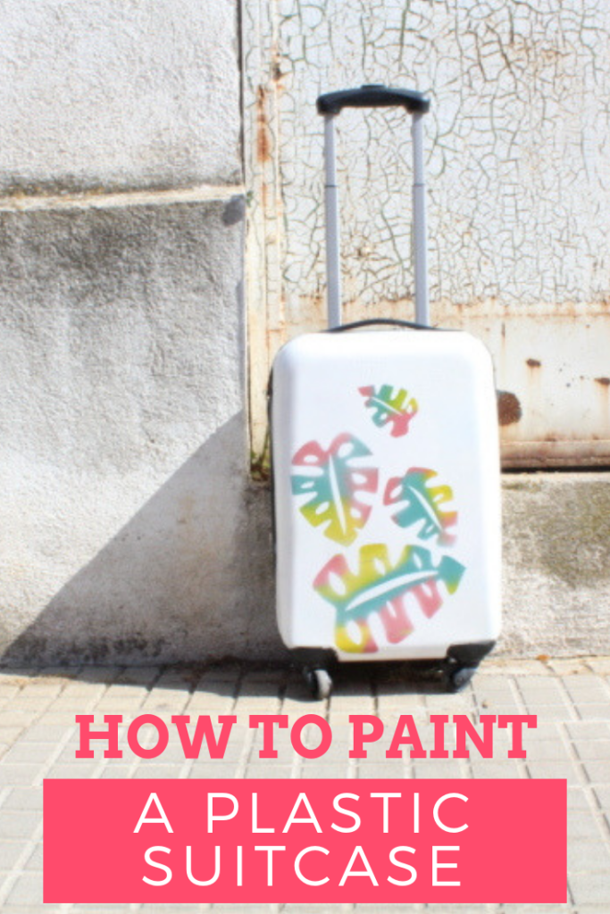 how to paint a plastic suitcase with stencils and spray paint