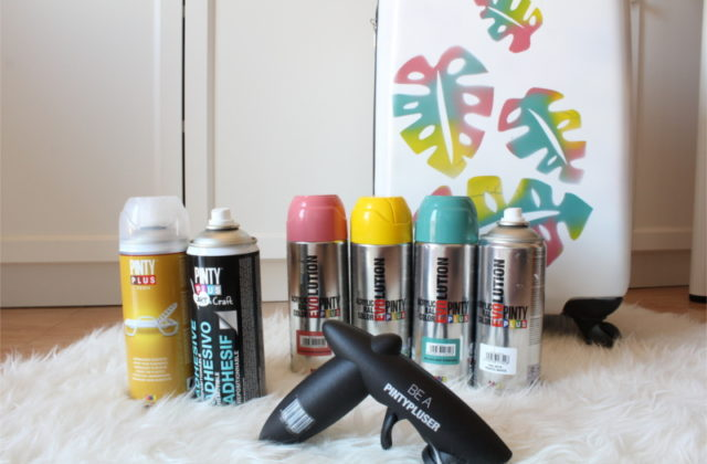 how to paint a plastic suitcase using spray paints and reverse stencils