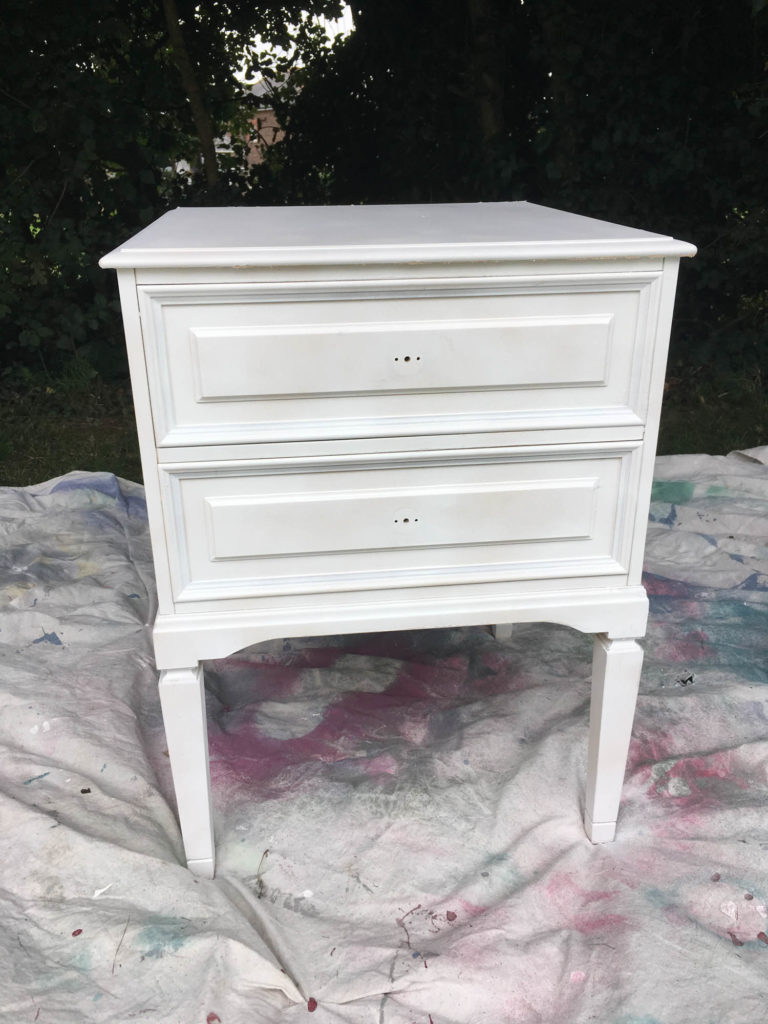 bedside table makeover adding spray primer