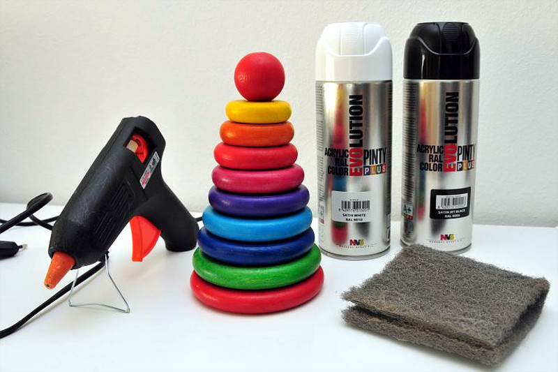 repainting a stackable toy tower