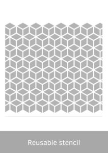 geometric reusbale stencil for spray painting