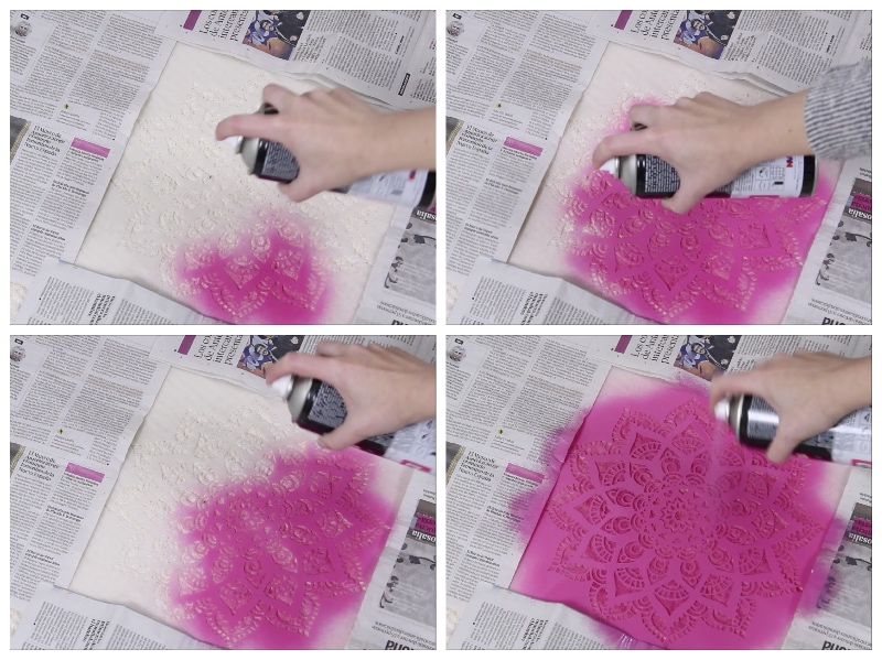 how to spray paint a rug