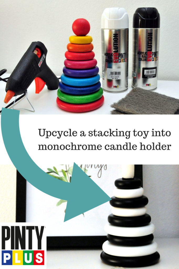 how to upcycle a stacking toy into a monochrome ornament