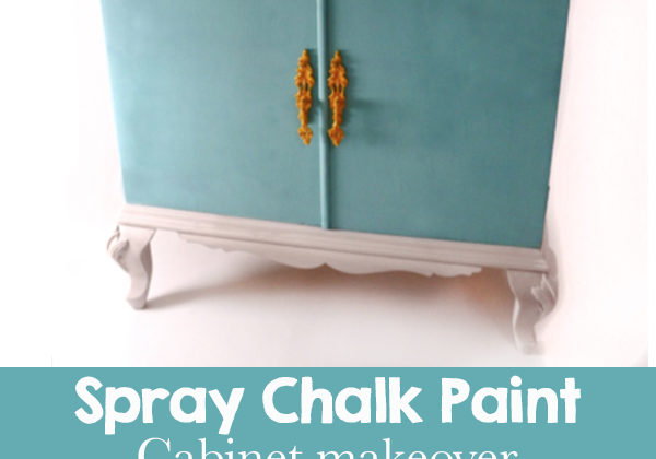 Before and after chalk paint furniture makeover. Step by step tutorial showing how to transform a cabinet with chalk paint. This project uses turquoise paint on a varnished wood surface.