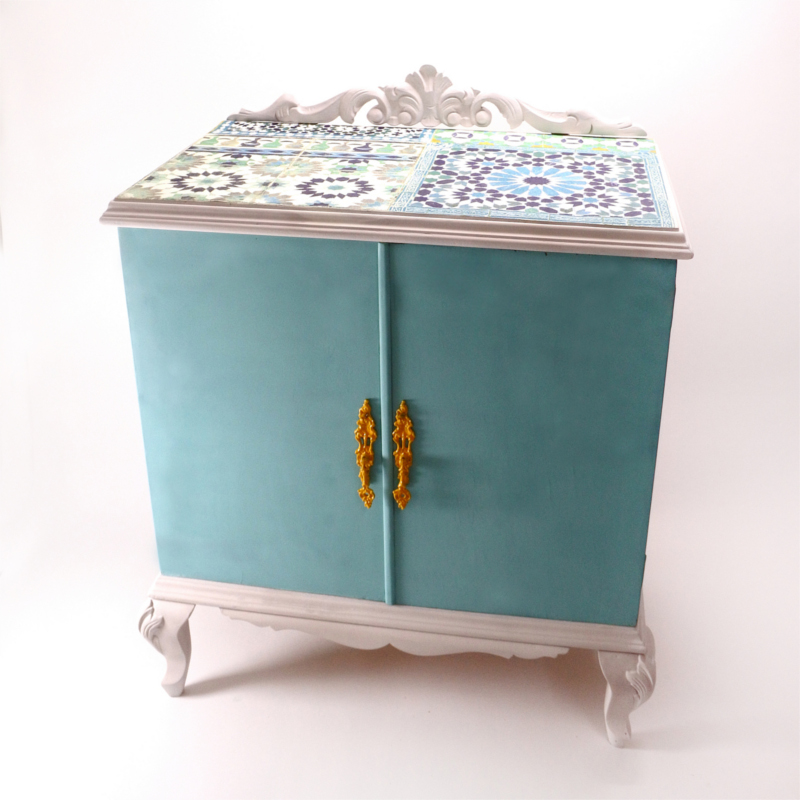 Upcycled cabinet with turquoise chalk paint