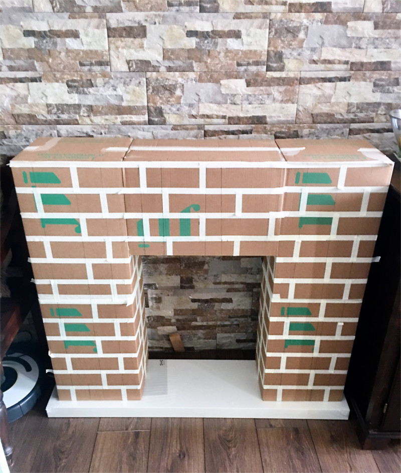 fake fireplace made from boxes
