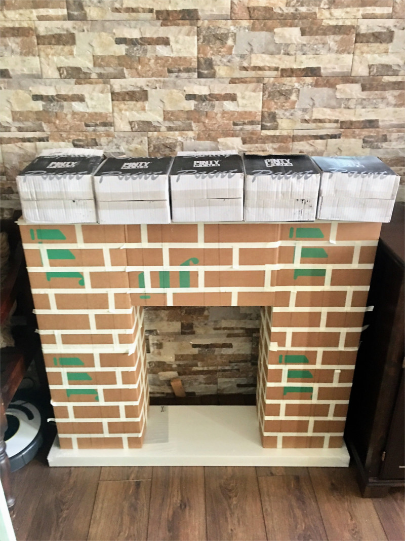 fireplace prop made from cardboard