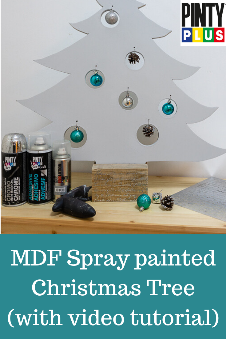 how to decorate a mdf christmas tree using spray paint and stencils