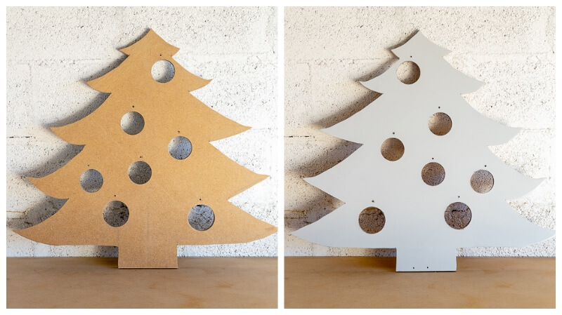 spray painting an MDF christmas tree
