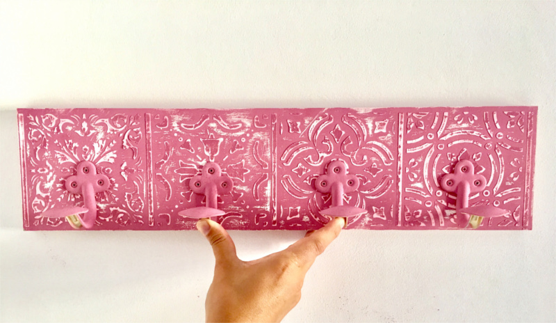 Spray painted and stencilled coat rack