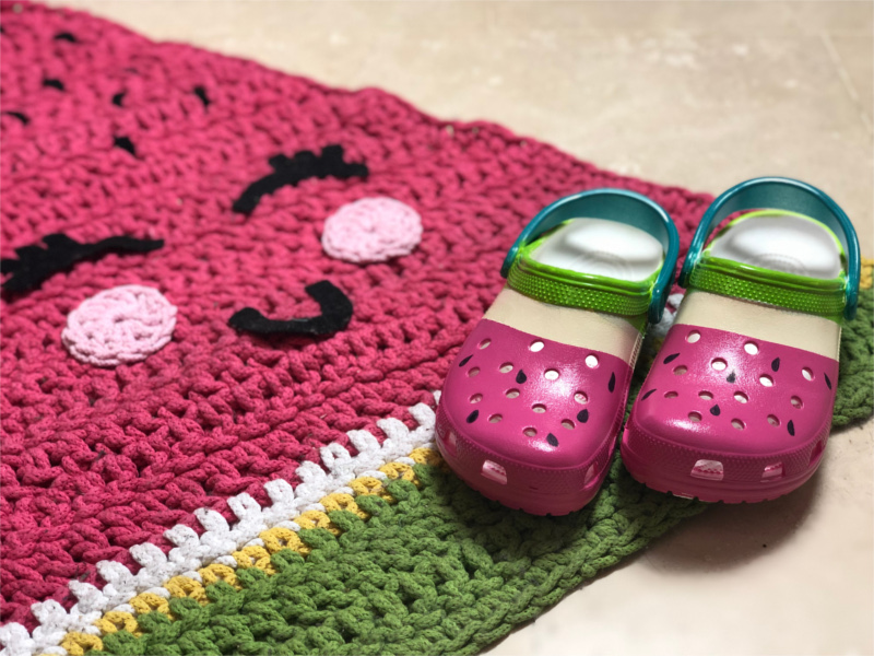 painted crocs in watermelon colours