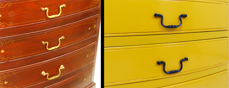 before and after painted drawer unit