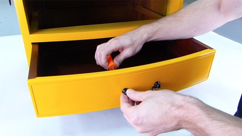 reattaching painted metal drawer handles