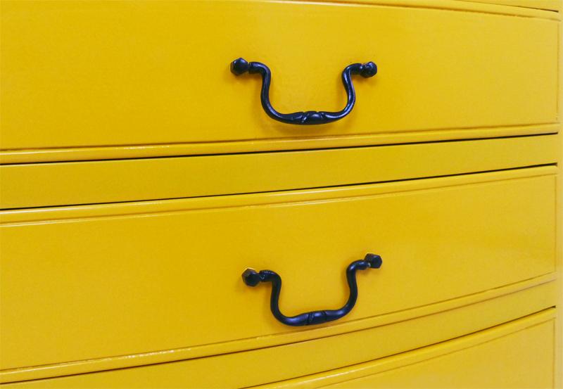 spray painted metal drawer handles