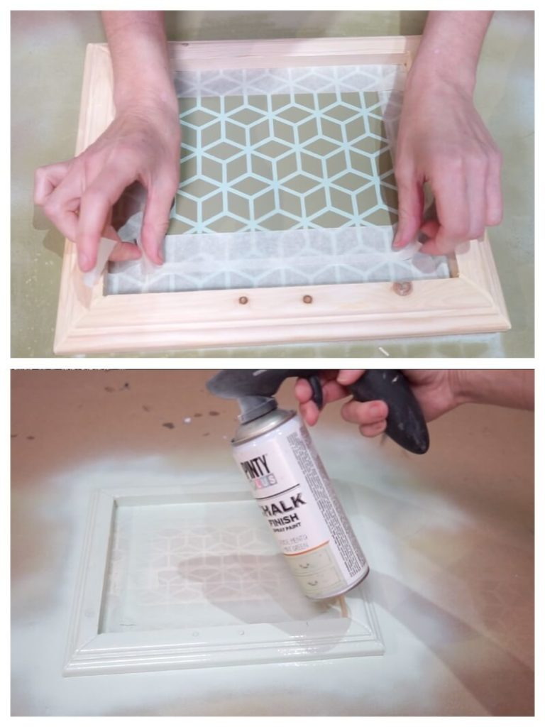 painting a stencil picture using spray paints