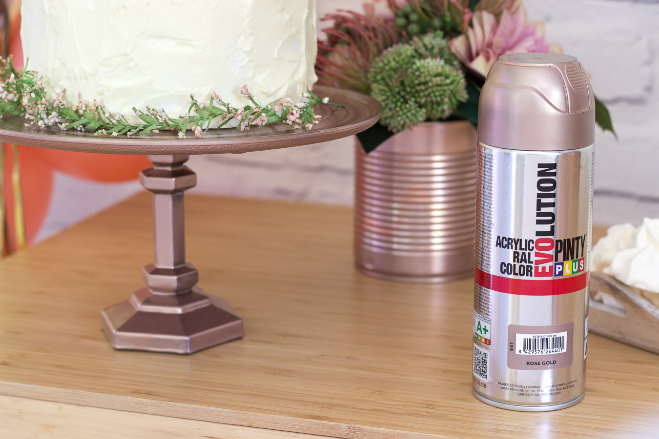 How To Make A Cake Stand With Rose Gold Spray Paint Pintyplus
