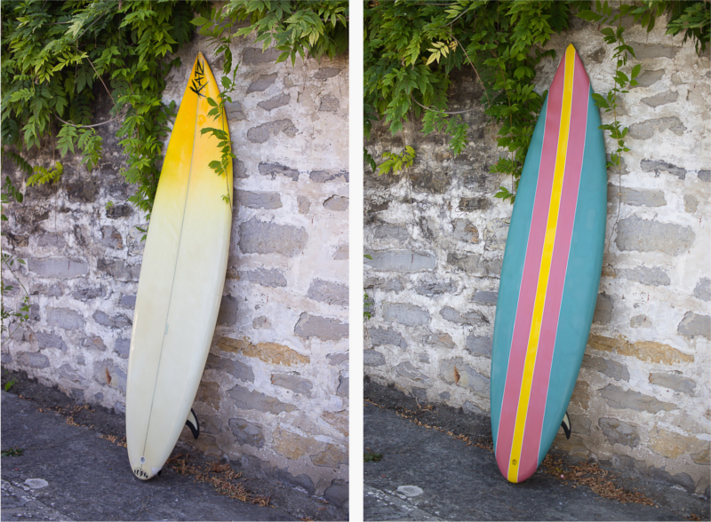 before and after painted surf board