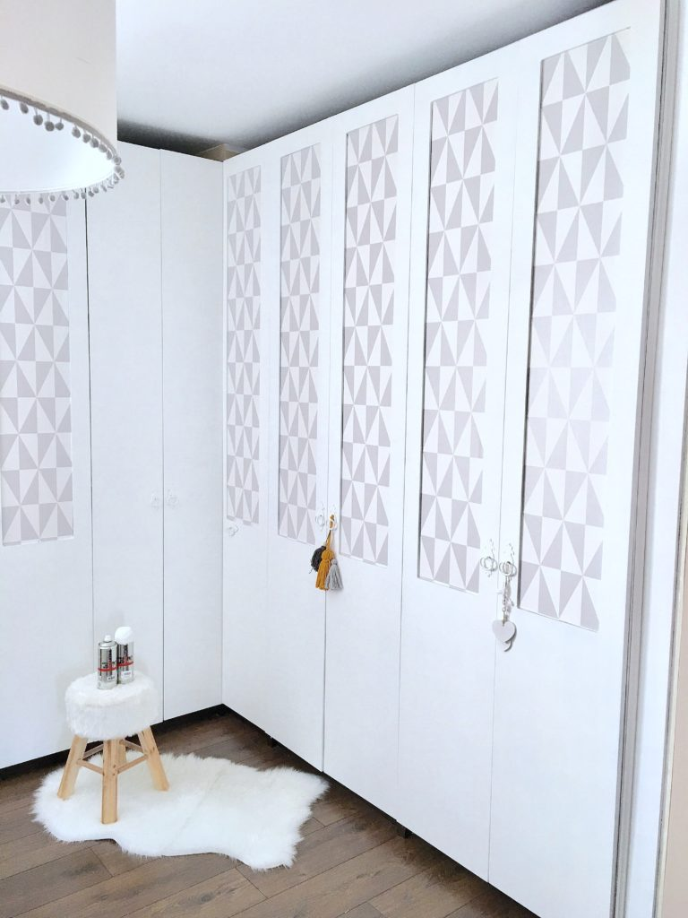 white wardrobe doors spray painted