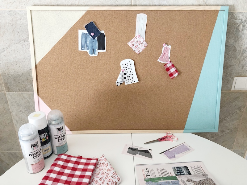 how to transform a cork noticeboard with spray paint