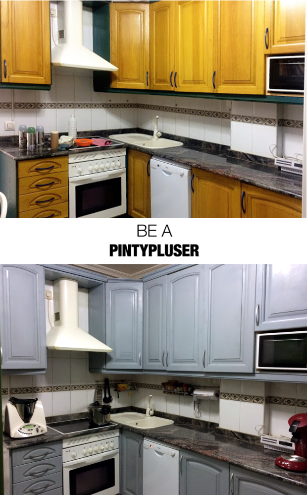 spray painted kitchen before and after