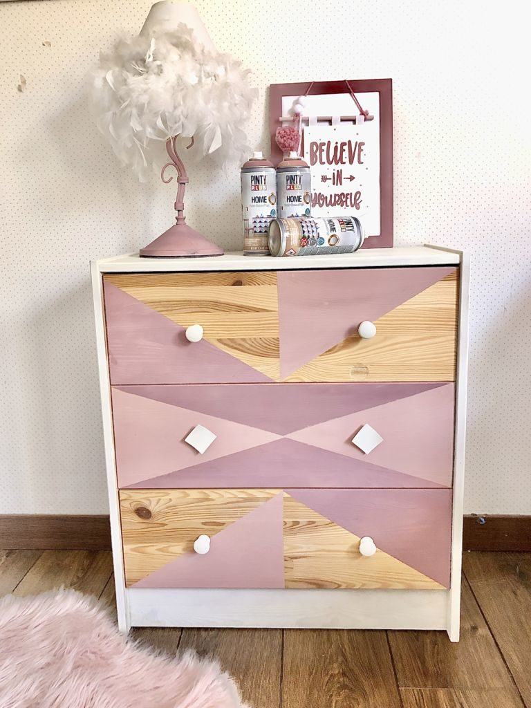 geometric style spray painted chest of drawers