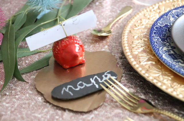 spray painted christmas table decorations