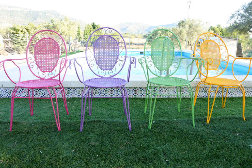 rainbow coloured garden furniture