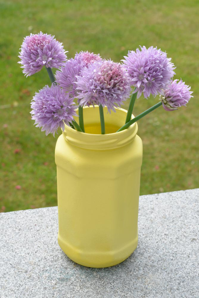 glass jar sprayed with chalk paint