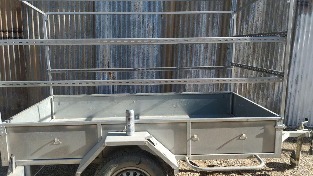 galvanised metal trailer needing repair